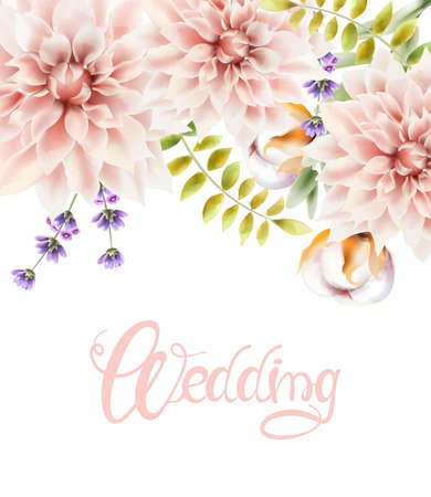 Watercolor flowers and leaves bouquet Illustration