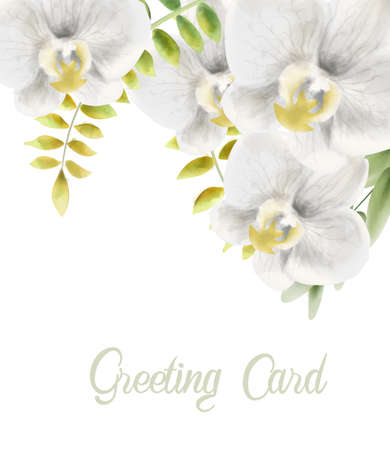 Watercolor white orchid flowers greeting card