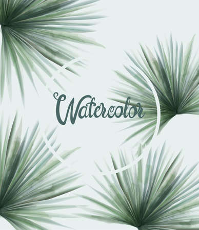 Watercolor summer green palm leaves Vettoriali