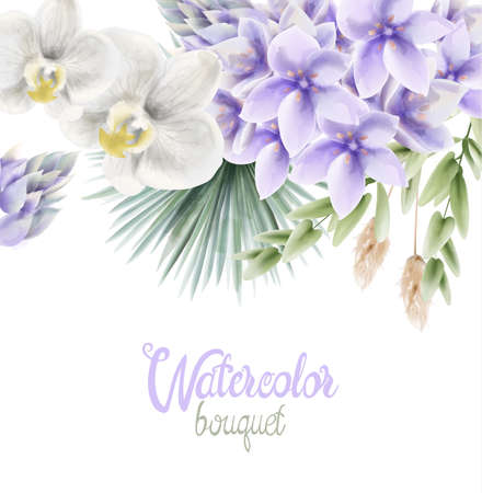 Watercolor Hyacinth flowers bouquet