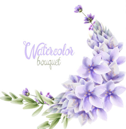 Watercolor Hyacinth flowers wreath bouquet 스톡 콘텐츠 - 131652701