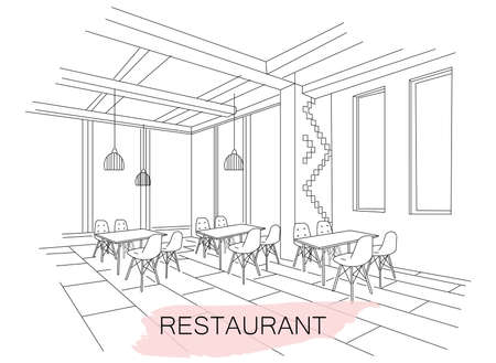 Interior sketch of Moldavian restaurant interior  イラスト・ベクター素材