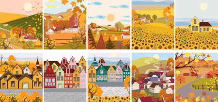 Pack of cartoon flat village with sunflower, old town buildings Illusztráció