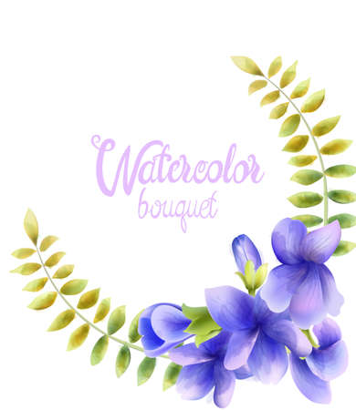Watercolor bouquet of orchid flowers Illustration