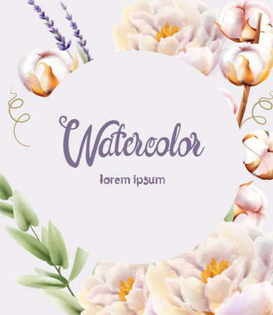 Watercolor greeting card with watercolor flowers Illustration