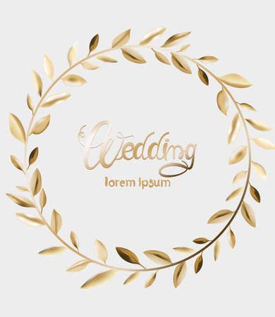 Wedding greeting card with golden leaves