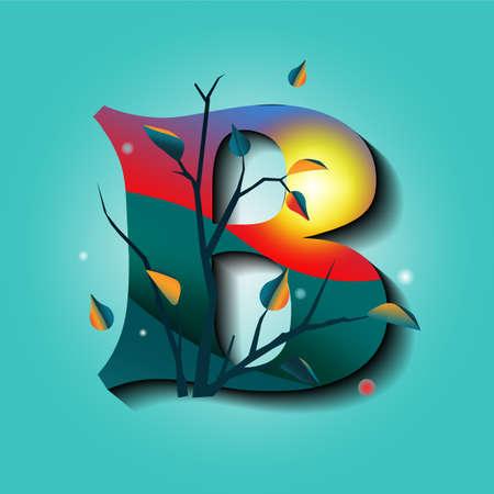 Lettera B in ornamenti autunnali con albero e foglie d'oro. Vettore piatto stile mistico Vettoriali