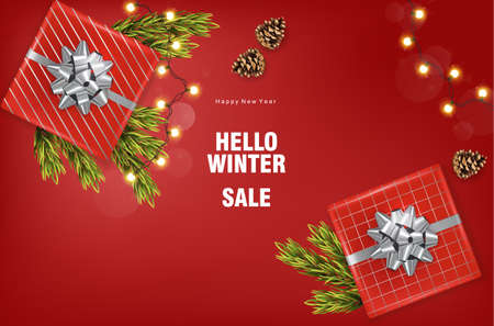 Merry christmas sale banner with silver ribbon gift box, fairy lights, conifer cone, fir tree leaves. Red background vector