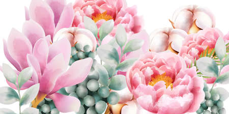 Watercolor flower bouquet with green leaves, rose magnolia, cotton and peony flowers. Vector Stock Illustratie