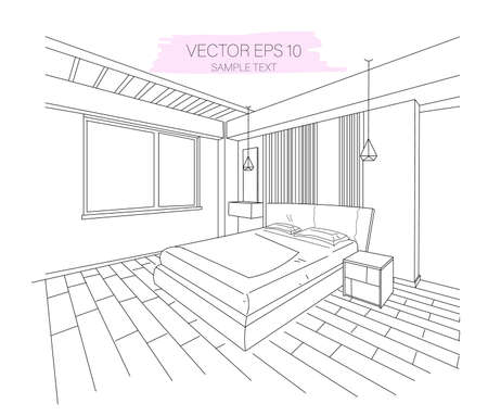 Three dimensional modern apartment bedroom sketch. Sofa, big window and lights. Vector Illustration