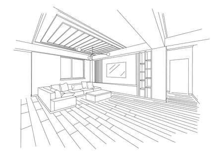 Three dimensional sketch of a modern living room Illustration