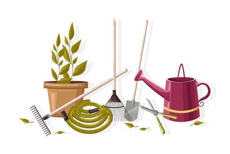 Set of autumn gardening tools.