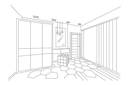 Three dimensional sketch of a modern bedroom with closet, makeup place and entrance. Lamps hanging. Architectural vector