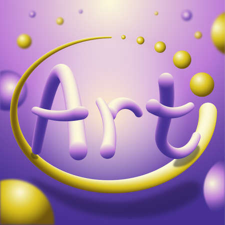 Bubble shaped Art text. Purple and yellow colors. Vector Illustration