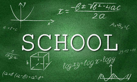 School  with green  and formulas. Geometry drawings