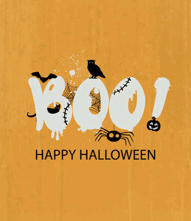 Happy halloween with frightening boo Illusztráció