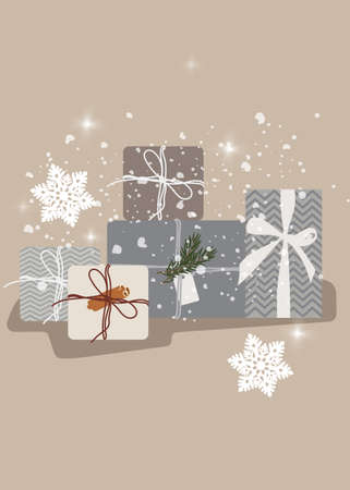 Christmas random sizes gift boxes with ribbons Standard-Bild - 132981997