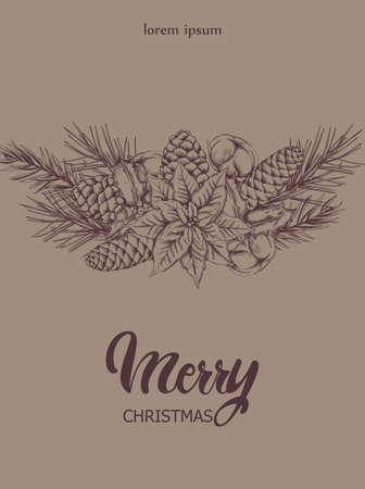 Christmas sketch style composition Standard-Bild - 132981949