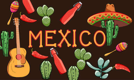 Mexico banner with region oriented decorations. Guitar, cactus, hot sauce bottle, pepper. Colorful maracas and sombrero hat  イラスト・ベクター素材