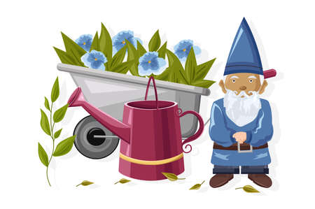 Dwarf with watering can and wheelbarrow full of blue flowers Stock Illustratie