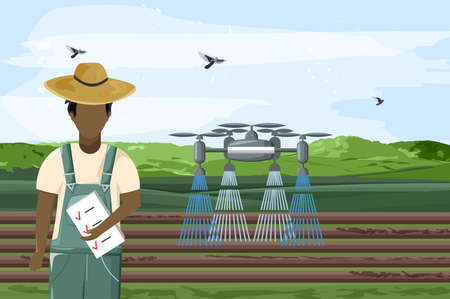 Drone watering the field and man controlling work Standard-Bild - 133064038