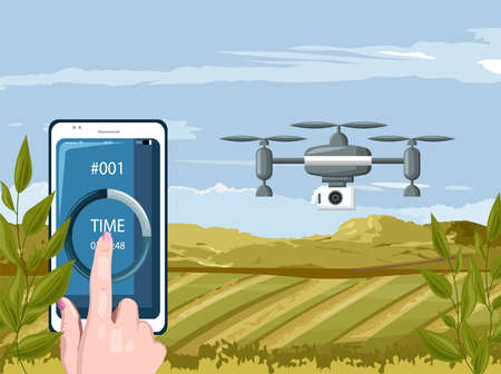 Woman hands controlling drone in agriculture field
