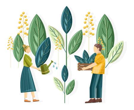 Rural people planting gigantic flower leaves