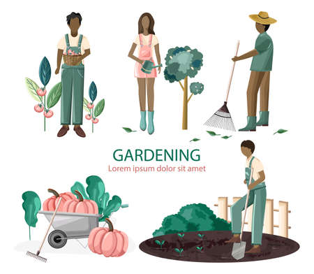 Set of people gardening Standard-Bild - 133065649