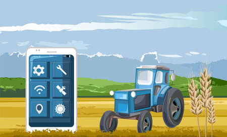 Blue tractor in the field controlled by smart phone app Standard-Bild - 133064828