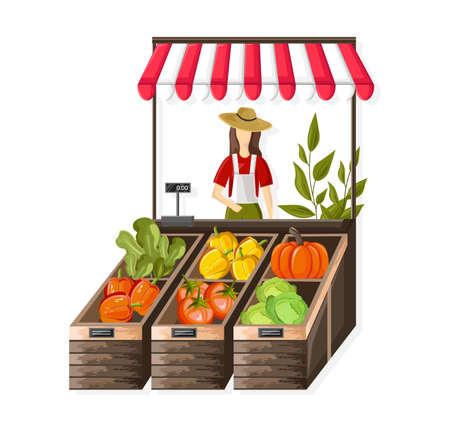 Woman selling vegetables outdoors Standard-Bild - 133065642