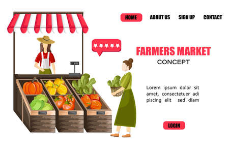 Site template with woman selling vegetables outdoors Standard-Bild - 133065349