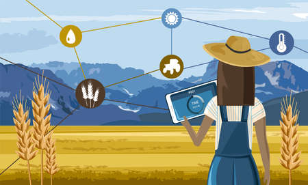 Woman with hat controlling a farm field from a tablet. Future agriculture technology icons. Mountains and blue sky on background. Vector