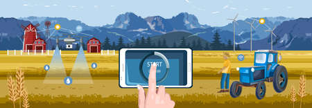Woman hands controlling wireless farm field from smart phone tablet app. Red barn, drone watering and tractor with windmill on background. Blue mountains and sky. Agriculture vector Illusztráció