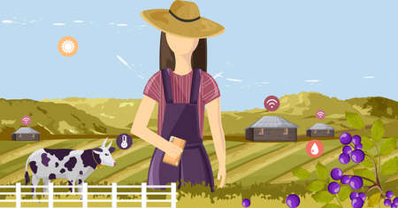 Woman controlling future farm wireless from the smart phone. Agriculture icons floating. Barn, cow and mountains on background Illusztráció