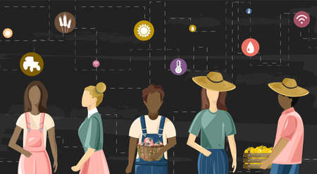 Family of farmer people wired to future farming technologies icons. Dark background. Agriculture wireless business idea vector