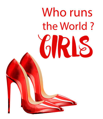 Who runs the world Girls vector with red lady shoes Illusztráció