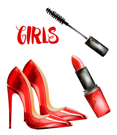 Girls vector with red lady shoes, lipstick and mascara