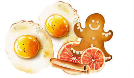 Fried eggs with gingerbread cookie and snacks