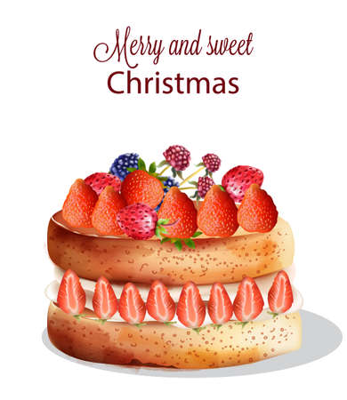 Sweet christmas cake with strawberry and other fruits