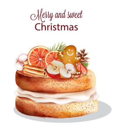 Sweet christmas cake with holiday ornaments. Cinnamon sticks, orange, gingerbread cookie, half apple, cotton, fir tree leaves, pine cone. Vector