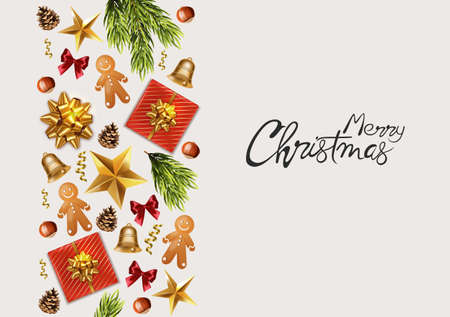 Merry Christmas panoramic banner with wrapped gift boxes, pine tree leaves, baubles, fairy lights and conifer cone. Colorful decorations. Holiday vector