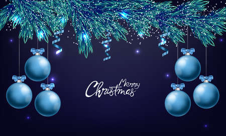 Merry christmas panoramic composition with blue ornamented baubles with ribbon. Snowflakes and white lights on background. Holiday Vector