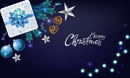 Christmas panoramic banner with wrapped gift boxes, pine tree leaves, baubles, fairy lights and conifer cone. Blue and white color. Holiday vector