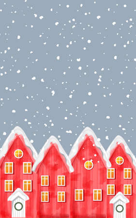 Watercolor winter red houses covered in blizzard snow. Christmas greeting card vector with place for text Illustration