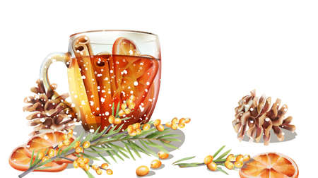 Winter cup of tea with cinnamon and orange slices. Conifer cone and fir tree leaves. Cold season beverages vector