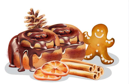 Cinnamon rolls with chocolate glaze and winter ornaments. Gingerbread cookie, cinnamon sticks, orange slices, conifer cone. Winter food Vector