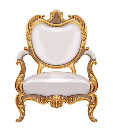 Louis XVI style chair with golden neoclassic ornaments. Vector Ilustrace