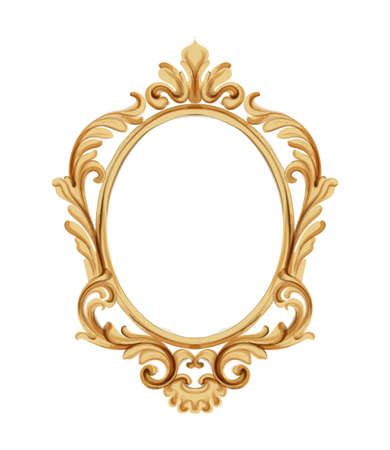 Louis XVI style mirror with golden neoclassic ornaments. Vector Ilustrace
