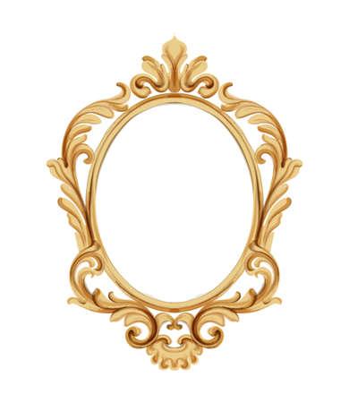 Miroir de style Louis XVI aux ornements néoclassiques dorés. Vecteur