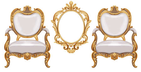 Louis XVI style chairs and mirror with golden neoclassic ornaments. Vector